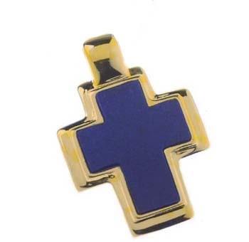 18K Gold and Lapis Lazuli Thick Rectangular Cross