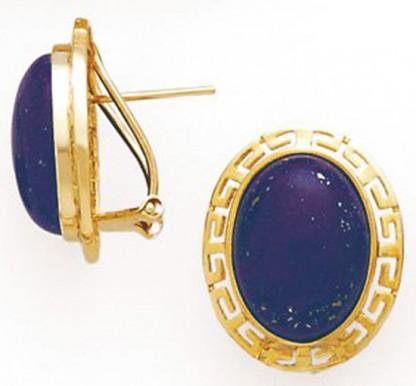 18K Gold and Lapis Lazuli Greek Key Earrings