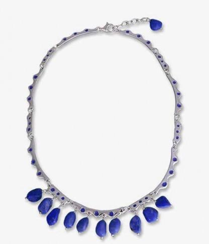 Sterling Silver and Lapis Lazuli Enchanted Drops Semi Collar