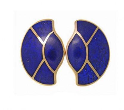 18K Gold and Lapis Lazuli Art Deco Fan Earrings