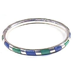 Tubular Zebra Sterling Silver Cuff Bracelet with Inlayed Stone