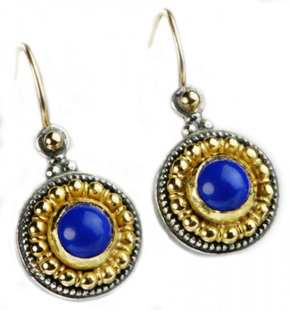 Round Grecian Sterling Silver, 18K Gold and Lapis Lazuli Hanging Earrings