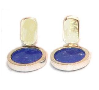 18K Gold Button Hanging Earrings