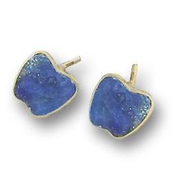 18K Gold Apple Single Stone Post Earrings