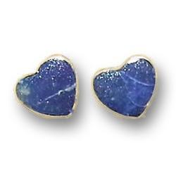 18K Gold Heart Single Stone Post Earrings