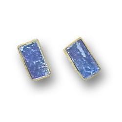 18K Gold Mini Rectangular Single Stone Post Earrings