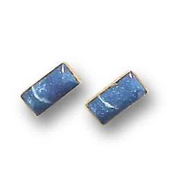 18K Gold Rectangular Single Stone Earrings