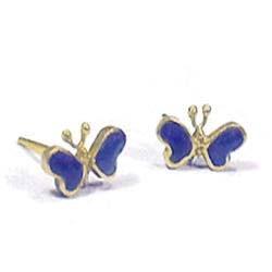 18K Gold Butterfly Post Earrings
