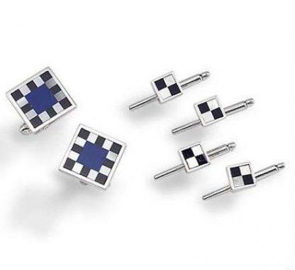 Lapis Lazuli, Obsidian and Nacar Checkered Cufflinks & Studs Set