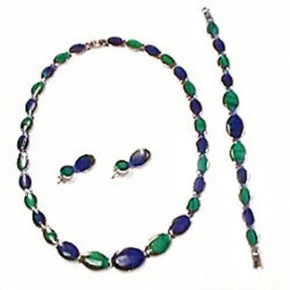 Oval Lapis Lazuli and Malachite Sterling Silver Set