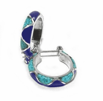 Lapis Lazuli and Turquoise Sterling Silver Hoops