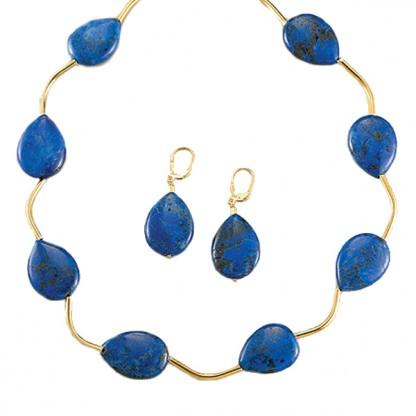 Lapis Lazuli and Gold Vermeil Wave Set