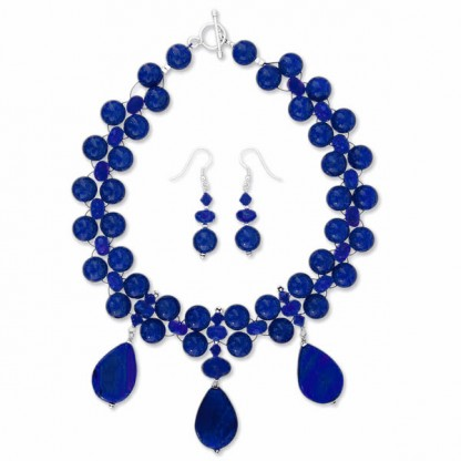 Sterling Silver and Lapis Lazuli Dewdrops Beaded Set