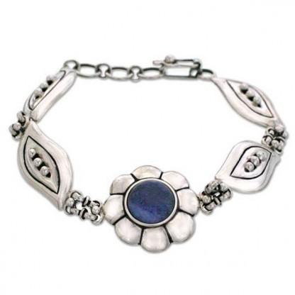 Sterling Silver and Lapis Lazuli Flower Cabochon Bracelet