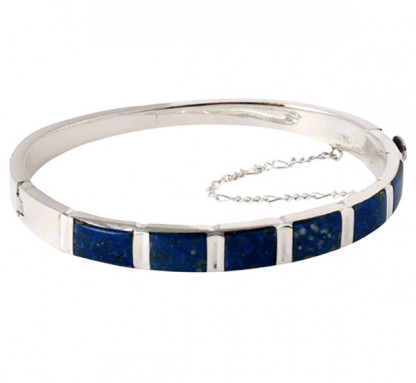 Sterling Silver and Lapis Lazuli Hinged Cuff Bracelet