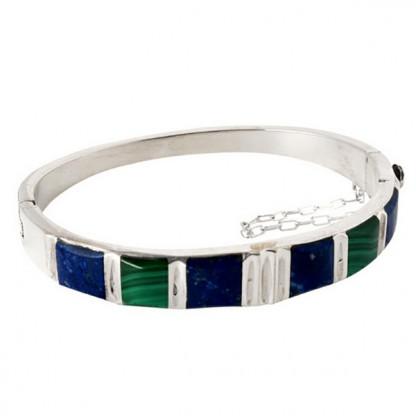 Sterling Silver, Lapis Lazuli and Malachite Hinged Cuff Bracelet