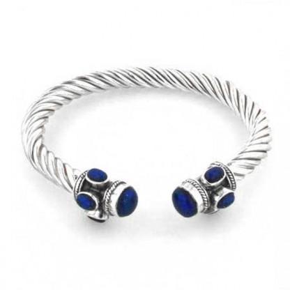 Sterling Silver & Lapis Lazuli Cable Bangle Bracelet