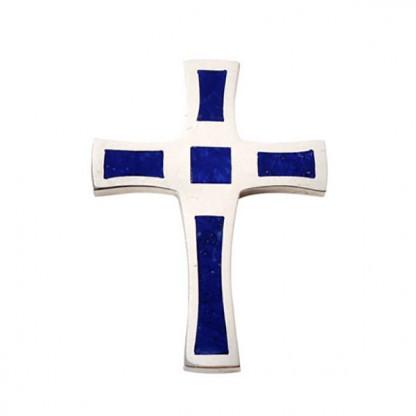 Sterling Silver and Lapis Lazuli Mosaic Cross