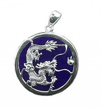 Lapis Lazuli and Sterling Silver Medium Dragon Medallion