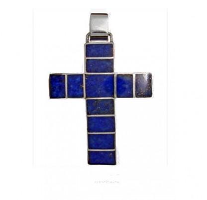 Rectangular Sterling Silver and Lapis Lazuli Cross Vitral Cross