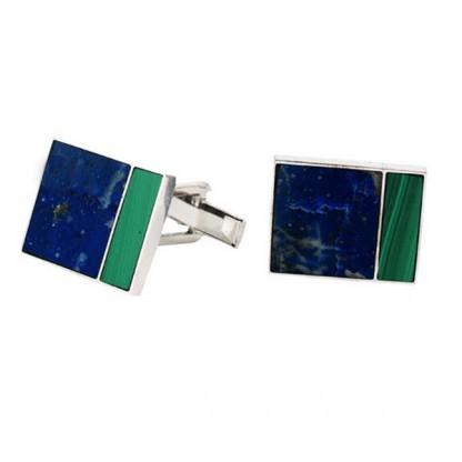 Rectangular Sterling Silver, Lapis Lazuli and Malachite Cufflinks