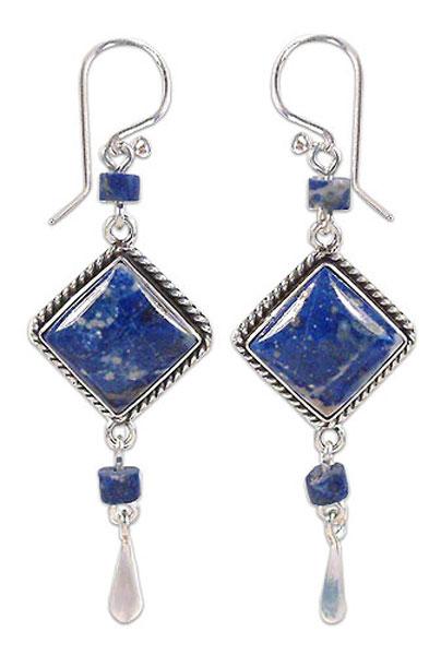 Lapis Lazuli Pagoda Hanging Earrings