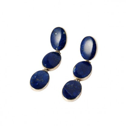 Sterling Silver and Lapis Lazuli Oval Hanging Hinge Earrings