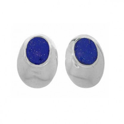 Tower Eyes to the Soul Post or Clip Earrings, Sterling Silver and Lapis Lazuli