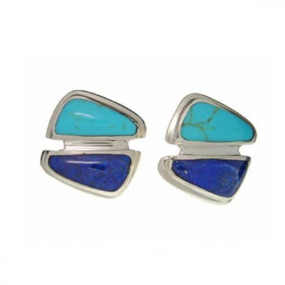 Sterling Silver, Lapis Lazuli and Turquoise Division Earrings