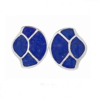 Sterling Silver and Lapis Lazuli Art Deco Fan Earrings