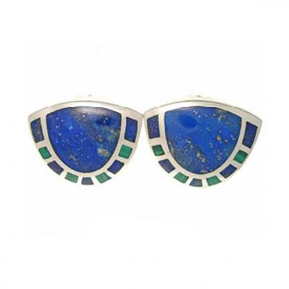 Sterling Silver, Lapis Lazuli and Malachite Art Deco Shell Earrings