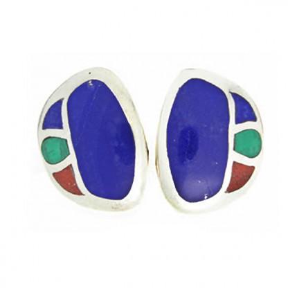 Sterling Silver Lapis Lazuli, Malachite and Jasper Art Deco Earrings