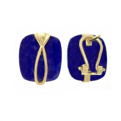 18K Gold and Lapis Lazuli Ribbon Post Earrings