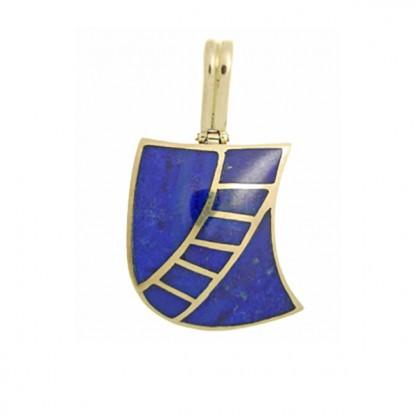 18K Gold Lapis Lazuli Art Deco Charm