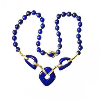 18K Gold Lapis Lazuli Beads Art Deco Necklace