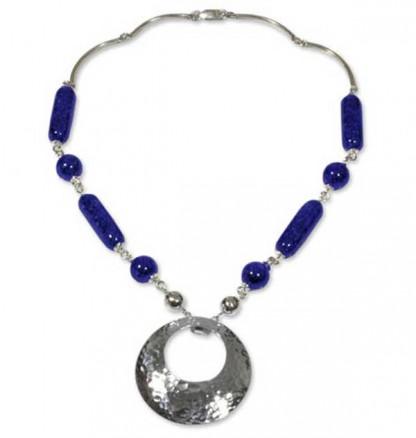 Mixed Beads Lapis Lazuli Shield Necklace