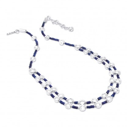 Sterling Silver and Lapis Lazuli Canule Beads Necklace