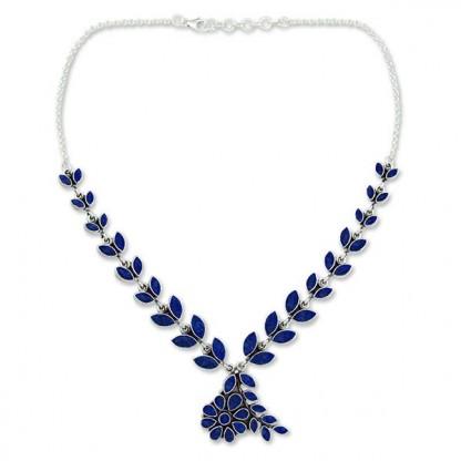 Sterling Silvar and Lapis Lazuli Petals Necklace