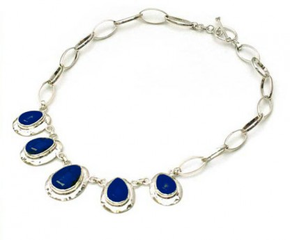Sterling Silver and Lapis Lazuli Mayan Tear Toggle Necklace