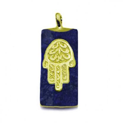 Lapis Lazuli and 18K Gold Hamsa Charm