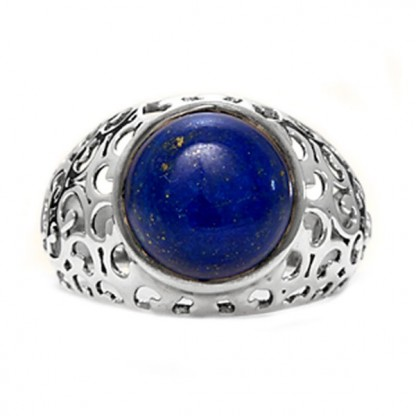 Sterling Silver and Lapis Lazuli Cabochon Lace Cocktail Ring