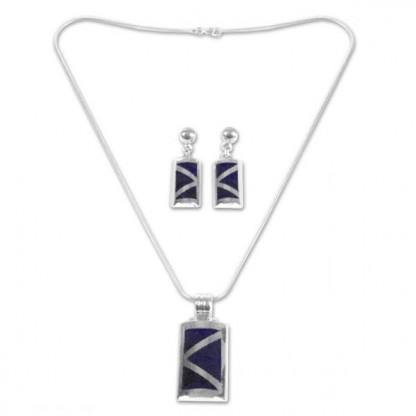 Sterling Silver and Lapis Lazuli Inca Pyramid Set