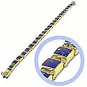 18K Gold Lapis Lazuli Large Square Hinge Bracelet