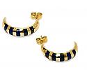 18K Gold Semi-Hoops Zebra Earrings