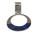 Oval Sterling Silver and Lapis Lazuli Hinge Charm