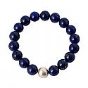10 mm Lapis Lazuli and Cultured Pearl Bead Bracelet