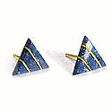 18K Gold Triangular Division Post Earrings