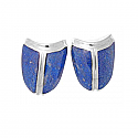 Tower Shield Post or Clip Earrings, Sterling Silver and Lapis Lazuli