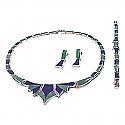 Big Stone Lapis Lazuli & Malachite Sterling Silver Set