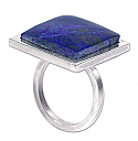 Sterling Silver and Lapis Lazuli Slab Ring